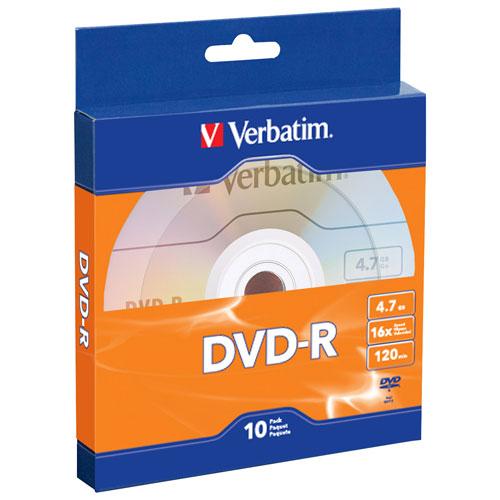 Verbatim 4.7GB 16X DVD-R - 10-Pack