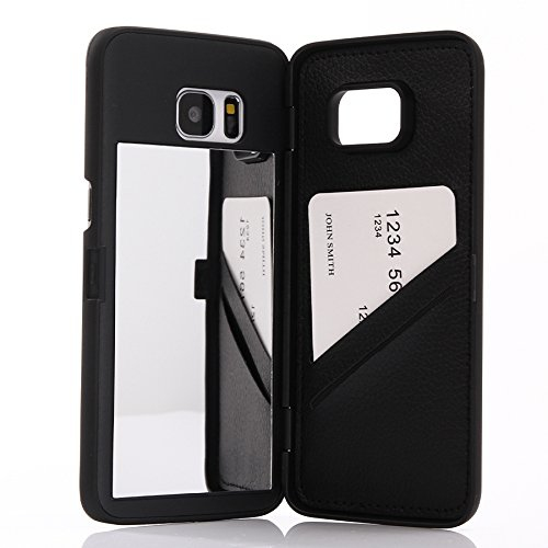 Galaxy S7 edge Case,Wetben Hidden Back Mirror Wallet Case with Stand Feature and Cards Holder for Samsung Galaxy S7edge G9350