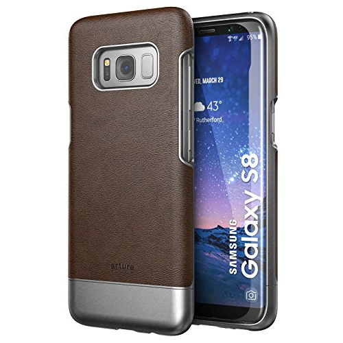 Galaxy S8 Premium Vegan Leather Case - Artura Collection By Encased (Samsung S8) (Mahogany Brown)