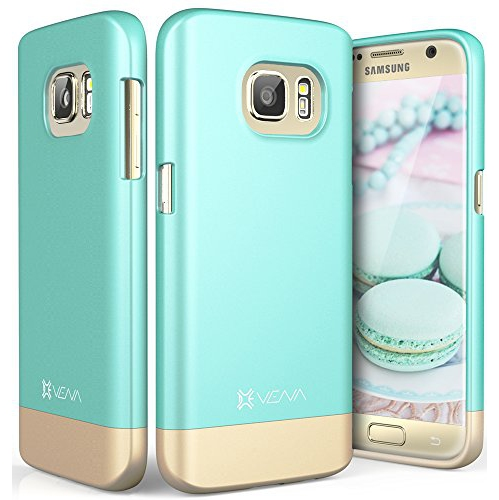 Galaxy S7 Case, Vena [iSlide][Two-Tone] Dock-Friendly Slim Fit Hard Case Cover for Samsung Galaxy S7 (Teal/Champagne Gold)