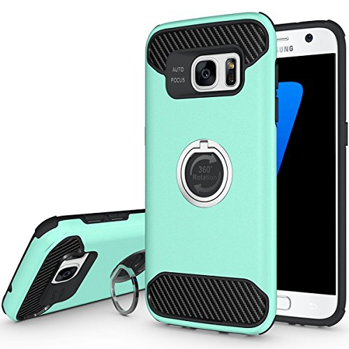 S7 Case, Jwest Samsung Galaxy S7 Case, Shock-Absorption Hard PC Shell & Soft TPU Inner with 360 Rotating Cell Phone Ring Stand