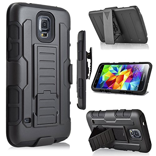 Galaxy S5 Case, Jwest Galaxy S5/S5 Neo Holster Case Full-Body Rugged Shock Proof Defender Heavy Duty Armour Tough Swivel Belt