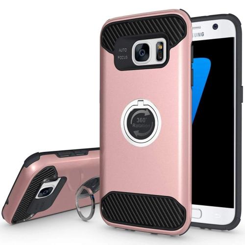 Galaxy S7 edge Case, S7 edge Case, Jwest [Ring Holder Series] Slim Hybrid Heavy Duty Hard PC + TPU Carbon Fiber Anti-scratch S