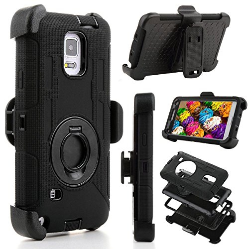 Samsung Galaxy Note 4 Case, Jwest Full-body Protective Rugged Holster Tough Dual Armor Overlay Case Cover for Galaxy Note 4 Wi
