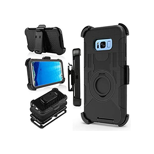 Galaxy S8 Plus Case, Jwest [Kickstand] Black Armor Holster Defender Full Body Protective Hybrid Case Cover with Belt Clip for