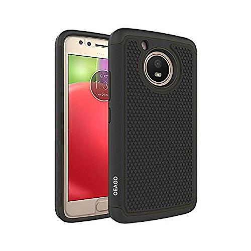 timeless design e7d83 4ebd0 Moto E4 Case OEAGO MOTO E4 (4th Gen) Case [Shockproof] [Impact Protection]  Hybrid Dual Layer Defender Protective Case Cover f