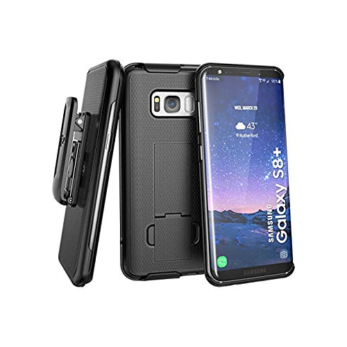 Galaxy S8 Plus Belt Clip Holster Case (soft touch) DuraClip Combo by Encased (Samsung S8+) (Smooth Black)