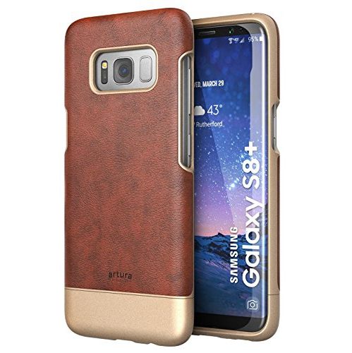 "Galaxy S8 Plus (6.2"") Premium Vegan Leather Case - Artura Collection By Encased (Samsung Galaxy S8+ 6.2"") (Chestnut Brown)"