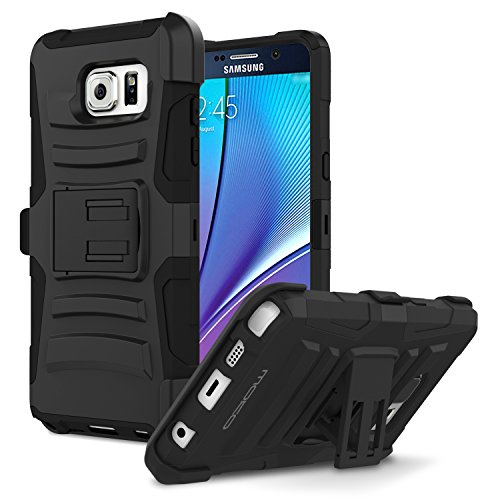 Galaxy Note 5 Case, MoKo Shock Absorbing Hard Cover Ultra Protective Heavy Duty Case with Holster Belt Clip + Built-in Kicksta