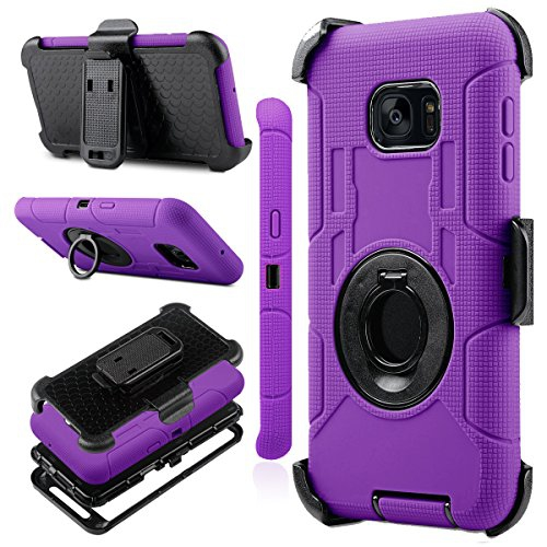 Samsung Galaxy S7 Edge case, J.west Full-body Protective Rugged Holster Tough Dual Armor Overlay Case Cover for Galaxy S7 Edge