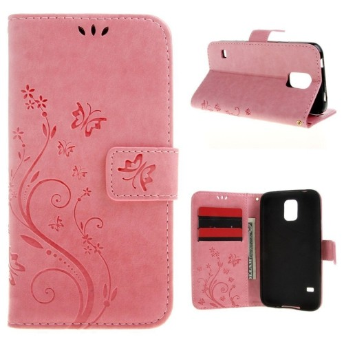 Galaxy S5/Galaxy S5 Neo 5.1inch Elegant Wallet Case, Galaxy S5 Neo Beautiful Case, Flower Butterfly Pattern Premium PU Leather