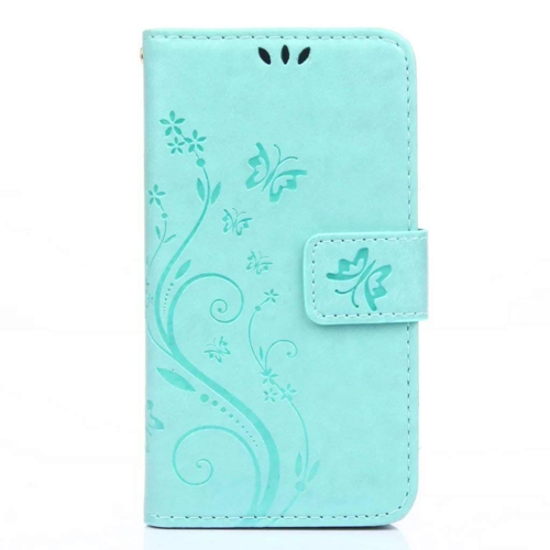 Galaxy s7 Wallet Case, 5.1inch Samsung Galaxy S7 Case, Flower Butterfly Pattern Premium PU Leather Wallet Case with Wrist Stra