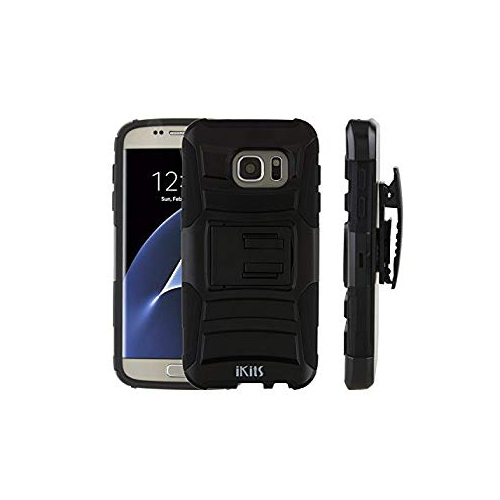 Samsung Galaxy S7 Case, iKits Heavy Duty Dual Layer Hybrid Armor Case with Kickstand Feature Holster Belt Clip Case Shock Abso