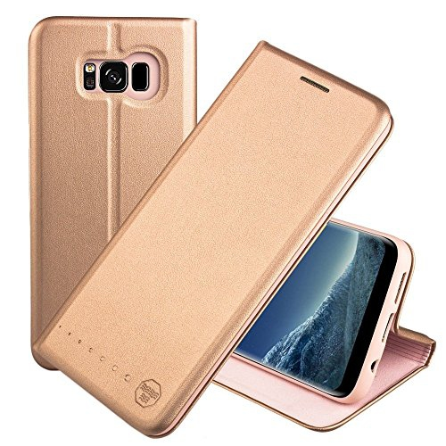 Nouske Samsung Galaxy S8 Plus Flip Wallet Case with Credit Card Holder/Stand/Shockproof TPU Silicon Bumper, Rose Gold
