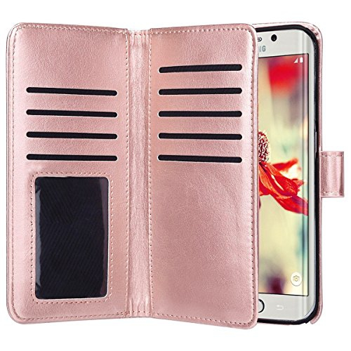 Samsung Galaxy S7 Edge Case,Jwest Premium Leather Folio Case [Wallet Function] Magnetic Fashion Wristlet Lanyard Hand Strap Pu