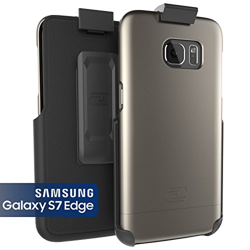Samsung Galaxy S7 EDGE Case, Encased® Ultra-thin [SlimSHIELD] Case & Belt Clip Holster (2016) Ultimate Style + Protection (Met