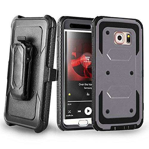 S6 Edge Case, Galaxy S6 Edge Case, Jwest [Dual Layer] Hybrid Full-body Protective Case with Kickstand Impact Resistant Bumpers
