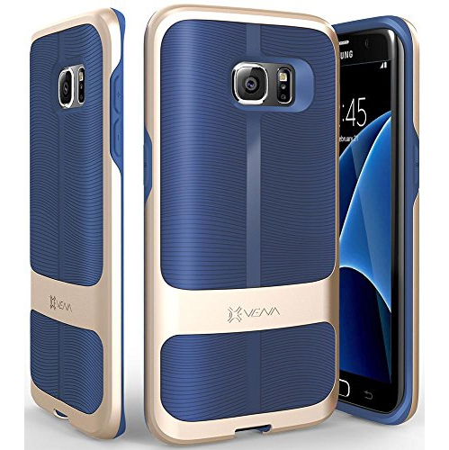 Galaxy S7 Edge Case, Vena [vAllure] Wave Texture [Bumper Frame][CornerGuard ShockProof | Strong Grip] Ultra Slim Hybrid Cover