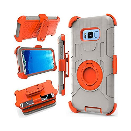 Galaxy S8 Case, Jwest [Kickstand] Heavy Duty Rugged Armor Holster Defender Full Body Protective Hybrid Case Cover with Belt Cl