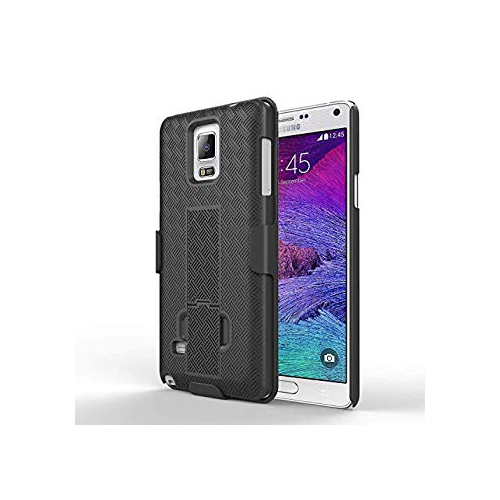 Galaxy Note 4 Case - MoKo [Revised Version / Fixed Belt Clip Holster] Slim Hard Shell Case Holster Combo with Kickstand and Lo