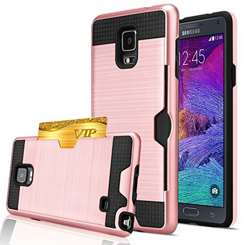 Note 4 Case, Galaxy Note 4 Wallet Case, Jwest [Card Slot] Shock Absorbent Armor Hybrid Defender Brushed Metal Texture Shockpro