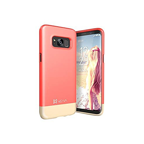 Vena iSlide [Two-Tone] Dock-Friendly Slim Fit Hard Case Cover for Samsung Galaxy S8 - Coral Red/Champagne Gold