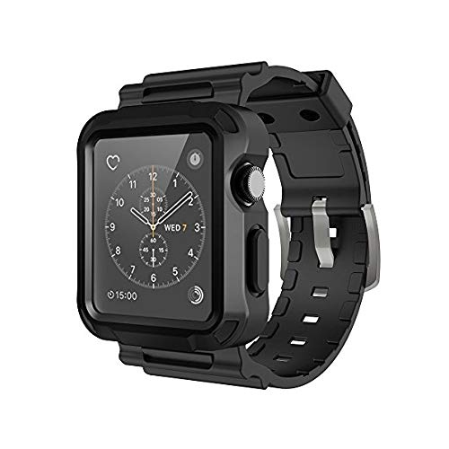 Simpeak Compatible with iWatch Bands Silicone Replacement Band Strap with  Case for iWatch Series 3 2 1-42 mm Black   Apple Watch Cases - Best Buy  Canada 1df547526152