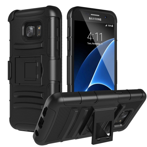 Galaxy S7 Case, MoKo Shock Absorbing Hard Cover Ultra Protective Heavy Duty Case with Holster Belt Clip + Built-in Kickstand f