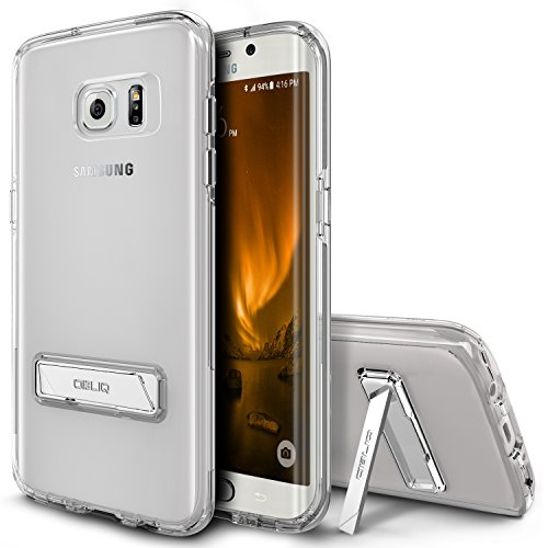 Galaxy S7 Edge Case, OBLIQ [NaKED SHIELD][Clear][Metal Kickstand] Slim Fit Crystal Clear Scratch Resist Heavy Duty Protection