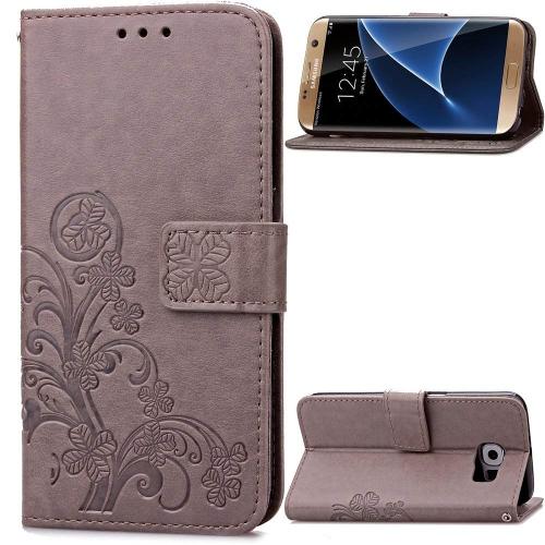Samsung Galaxy S7 Edge Beautiful Case, Fashion four-leaf clover Printing Premium PU Leather Wallet Case with Wrist Strap Flip