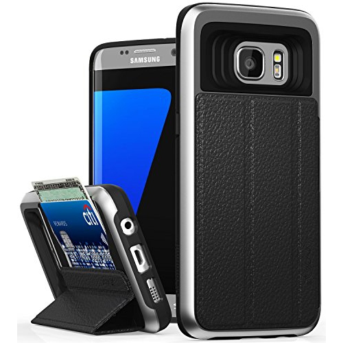 Galaxy S7 Edge Wallet Case, Vena [vCommute] Flip Leather Back [Card Slot Holder][Smart Cover KickStand] Heavy Duty Cover for S