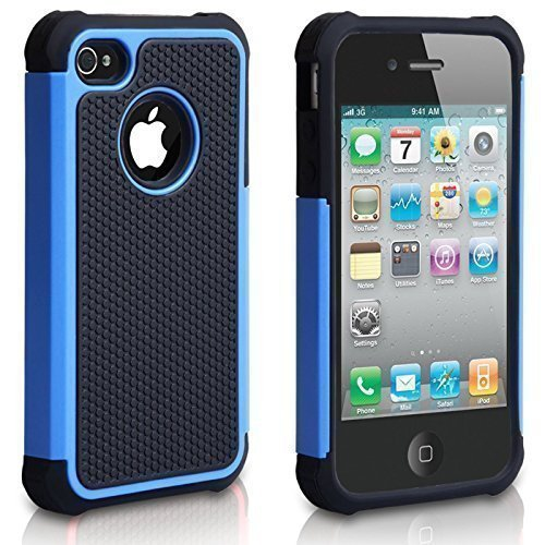 iPhone 4 Case, iPhone 4S Case, CHTech Fashion Shockproof Durable Hybrid Dual Layer Armor Defender Protective Case Cover for Ap