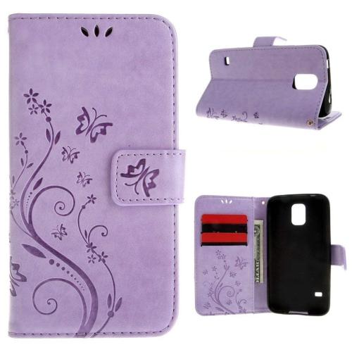 Galaxy S5/Galaxy S5 Neo 5.1inch Elegant Wallet Case, Apple iPhone SE Beautiful Case, Flower Butterfly Pattern Premium PU Leath