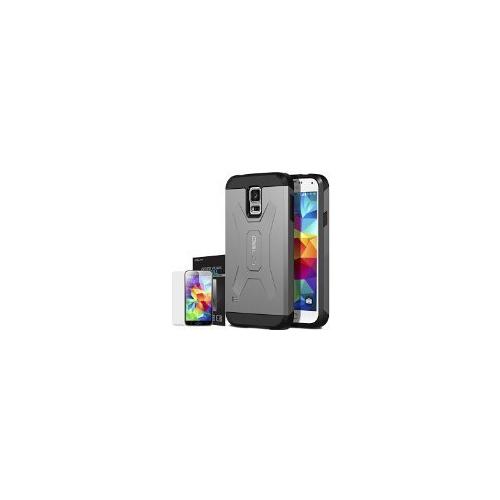 Galaxy S5 Case, OBLIQ [Xtreme Pro][Gun Metal] + Screen Shield - Premium Slim Tough Thin Armor Fit Bumper Smooth Finish Dual La