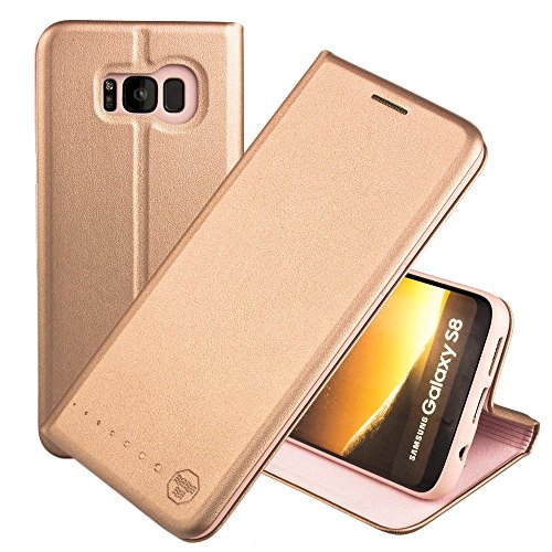 Nouske Samsung Galaxy S8 Flip Wallet Case with Credit Card Holder/Stand/Shockproof TPU Silicon Bumper, Rose Gold