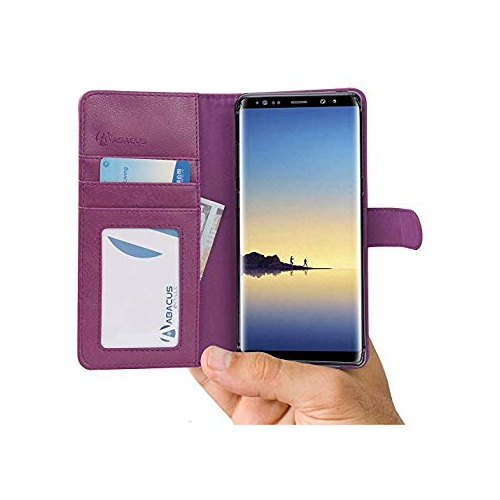 Abacus24-7 Samsung Galaxy Note 8 Case, Leather Wallet with Flip Cover, Credit Card Pockets and Stand, Orchid Purple