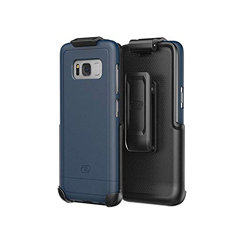 Galaxy S8 Belt Clip Holster Case, Smooth Touch SlimShield Armor by Encased (Samsung S8) (Deep Blue)