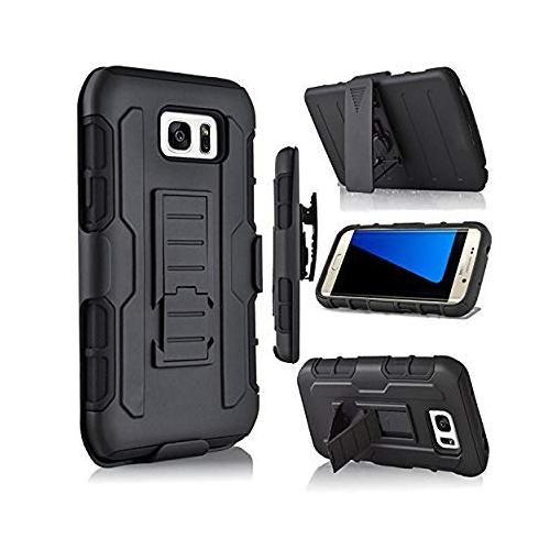 Galaxy S7 Edge Case, Jwest S7 Edge Combo Shell & Holster Case Super Slim Shell Case w/ Built-In Kickstand + Swivel Belt Clip H