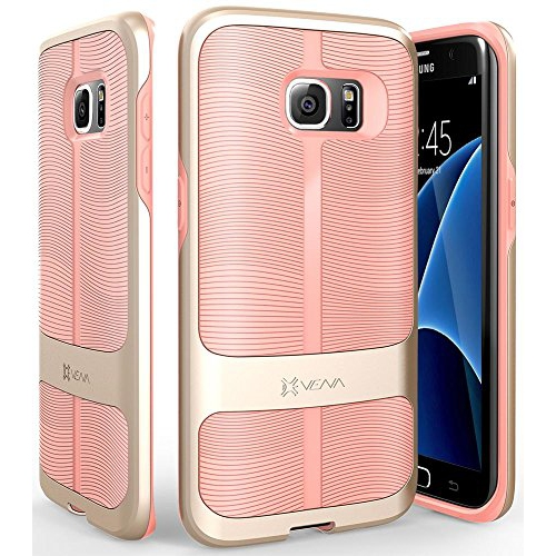 Galaxy S7 Edge Case, Vena [vAllure] Wave Texture [Bumper Frame][CornerGuard ShockProof | Strong Grip] Ultra Slim Hybrid Cover
