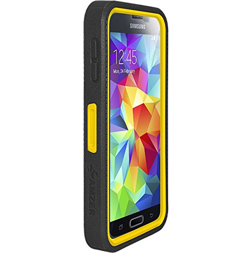 Amzer Crusta Rugged Case Tempered Glass with Holster for Samsung Galaxy S5, Retail Packaging, Black on Yellow
