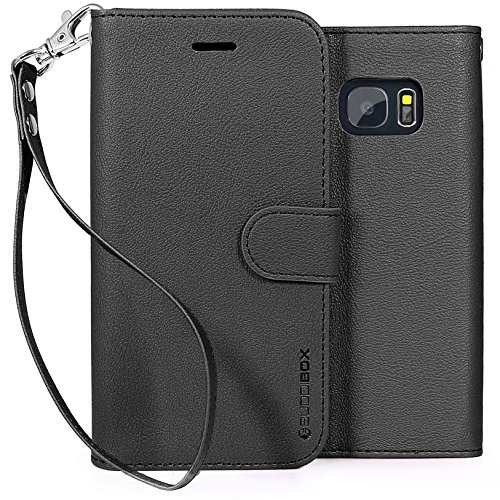 Galaxy S7 Case, BUDDIBOX [Wrist Strap] Premium PU Leather Wallet Case with [Kickstand] Card Holder and ID Slot for Samsung Gal