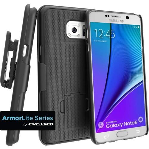Encased Galaxy Note 5 Combo Case w/ ClikLock Belt Clip Holster - Black (Samsung Galaxy Note 5)