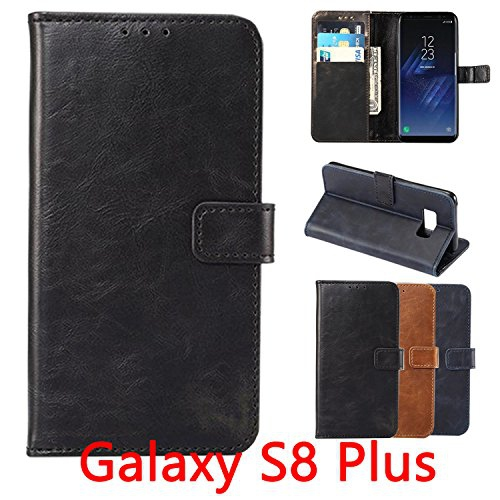 Samsung Galaxy S8 Plus Wallet Case, Black, High Quality PU Leather Flip Case Cover, Magnetic Clip, Kickstand, with Card Slots