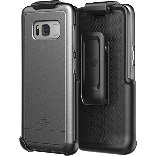 Galaxy S8 Plus Belt Clip Holster Case, Smooth Touch SlimShield Armor by Encased (Samsung S8+) (Metallic Grey)