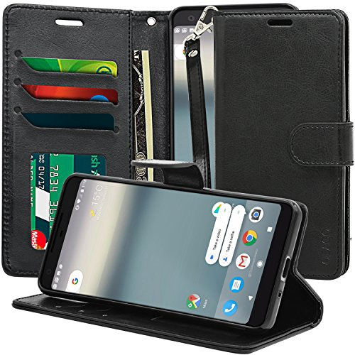 Google Pixel 2 Case, OEAGO Luxury Wallet Leather Case [Stand & Hand Strap Feature] with ID & Credit Card Pockets Magnetic Flip