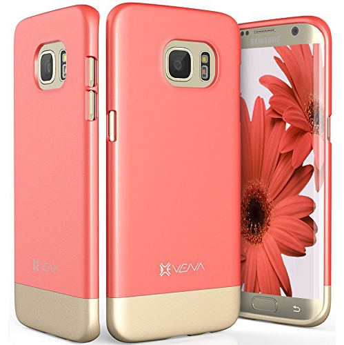 Galaxy S7 Edge Case, Vena [iSlide][Two-Tone] Dock-Friendly Ultra Slim Fit Hard Case Cover for Samsung Galaxy S7 Edge (Coral Re