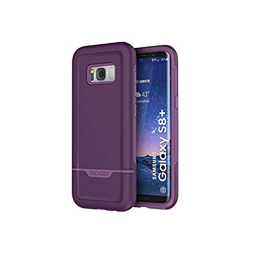 Galaxy S8 Plus Heavy Duty Case (S8+) REBEL Series Dual-Layer Impact Armor by Encased (Samsung S8+ 2017 Release) (Merlot Purple