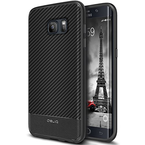Galaxy S7 Edge Case, OBLIQ [Flex Pro][Carbon] Premium PU Leather Slim Fit Form Fitting Heavy Duty Protective Cover for Galaxy