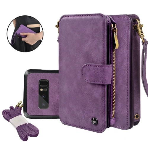 Galaxy Note 8 Case, Cornmi Leather Wallet Case 14 Card Slot Wristlet / Shoulder Strap Flip Stand Zipper Purse Detachable Magne
