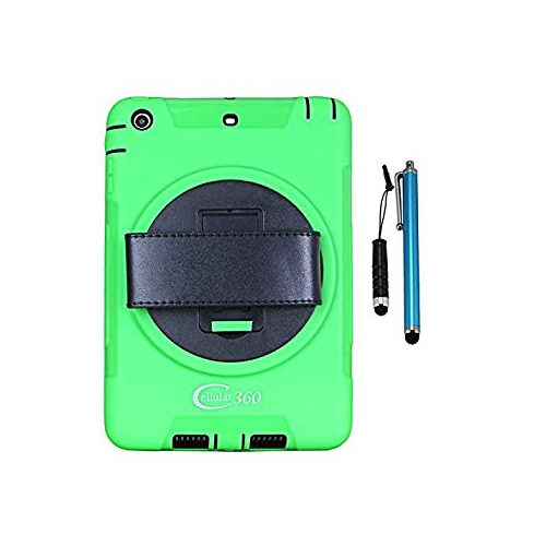 Apple iPad Mini 1/2/3 Rugged Case with 360 Degrees Swivel Kickstand and Hand Strap(Green)
